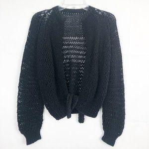 Long Sleeve Open Knit Tie Front Cardigan